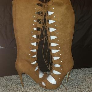 Knee High Open Toe Heeled Boots